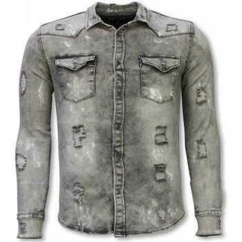 Kleidung Herren Langärmelige Hemden True Rise Jeanshemd Slim Damaged Allover Grau