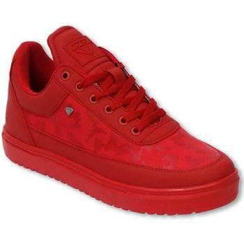 Schuhe Herren Sneaker Low Cash Money Sneaker Low Camouflage Side Case Army Full Red Rot