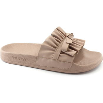 Schuhe Damen Pantoffel Inuovo 9209 Blush Pink Puder Pantoletten Frau Band gekräuselte Haut Rosa
