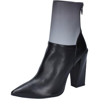 Schuhe Damen Low Boots Gianni Marra schuhe damen  stiefeletten tronchetti schwarz leder grau textil schwarz