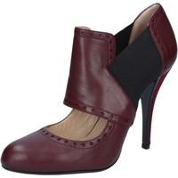 Schuhe Damen Pumps Gianni Marra MARRA stiefeletten burgund leder textil BY795 rot