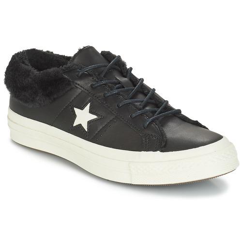 Schuhe Damen Sneaker Low Converse ONE STAR LEATHER OX Schwarz