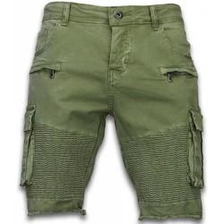Kleidung Herren Shorts / Bermudas Enos Kurze Hose Slim Biker Pocket Jeans Grün