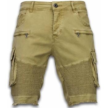 Kleidung Herren Shorts / Bermudas Enos Kurze Hose Slim Biker Pocket Jeans Beige