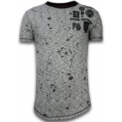 Kleidung Herren T-Shirts Local Fanatic Long Asymmetrische Stickerei Patches Guerrilla Grau