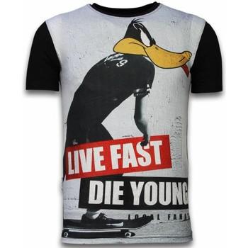 Kleidung Herren T-Shirts Local Fanatic Duck Live Fast Digital Strass Schwarz