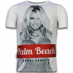 Kleidung Herren T-Shirts Local Fanatic Palm Beach Pamela Digital Strass Weiß