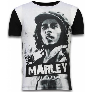 Kleidung Herren T-Shirts Local Fanatic Bob Marley Black And White Digital Strass Schwarz