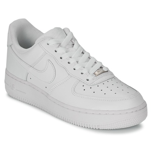 Nike AIR FORCE 1 07 LEATHER W Weiss - Schuhe Sneaker Low Damen 110,99 €