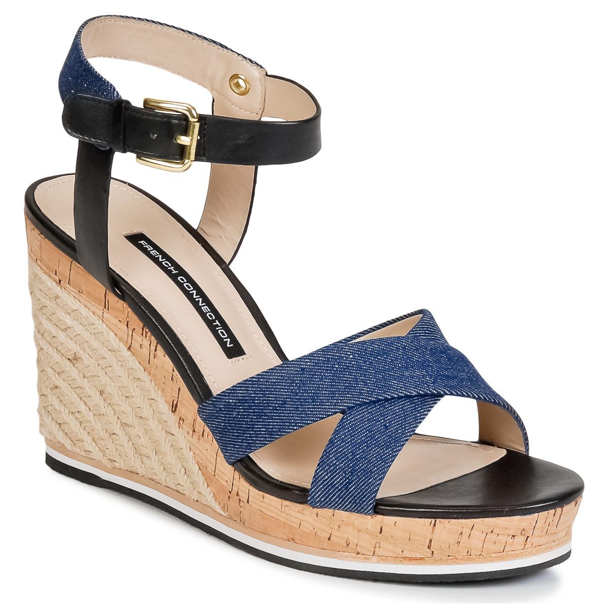 French Connection LATA Blau - Kostenloser Versand bei Spartoode ! - Schuhe Sandalen / Sandaletten Damen 47,60 €