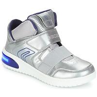 Schuhe Mädchen Sneaker High Geox J XLED GIRL Silbern