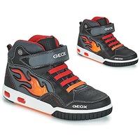 Schuhe Jungen Sneaker High Geox JR GREGG Schwarz / Rot