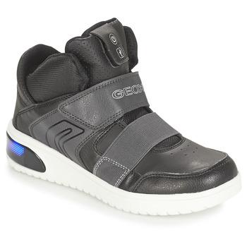 Schuhe Jungen Sneaker High Geox J XLED BOY Schwarz
