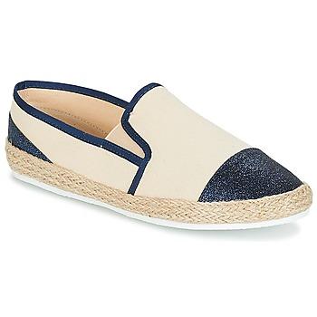 Schuhe Damen Leinen-Pantoletten mit gefloch André DIXY Blau