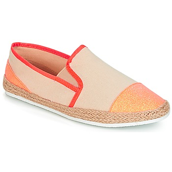 Schuhe Damen Leinen-Pantoletten mit gefloch André DIXY Korallenrot