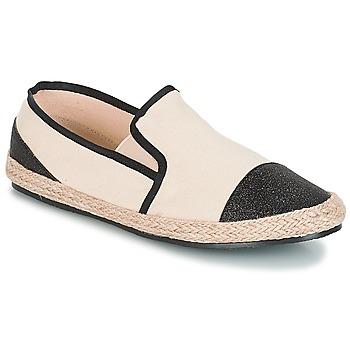 Schuhe Damen Leinen-Pantoletten mit gefloch André DIXY Schwarz