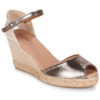 Schuhe Damen Leinen-Pantoletten mit gefloch André CADIX Goldfarben
