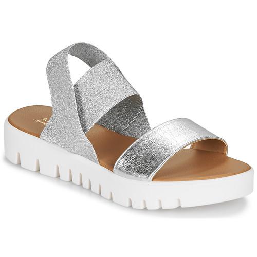 André EMY Silbern  Schuhe Sandalen   Sandaletten Damen
