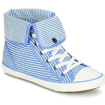 Schuhe Damen Sneaker High André GIROFLE Weiss / Blau