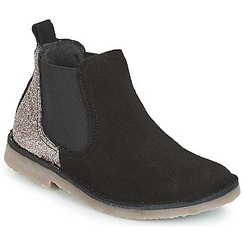 Schuhe Mädchen Boots Citrouille et Compagnie JIGOULI Schwarz / Glitterfarbe