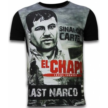 Kleidung Herren T-Shirts Local Fanatic El Chapo Last Narco Digital Strass Schwarz