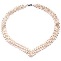 Uhren Damen Collier Blue Pearls 5-rangige Perlenkette mit echten Süßwasser-Zuchtperlen und 925-S Schwarz