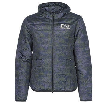 Kleidung Herren Daunenjacken Emporio Armani EA7 TRAIN GRAPHIC SERIES M JACKET HOODIE ALL OVER CAMOU Kaki / Blau