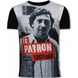 Kleidung Herren T-Shirts Local Fanatic El Patron Escobar Digital Strass Schwarz