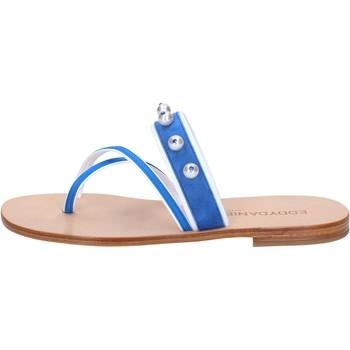 Schuhe Damen Sandalen / Sandaletten Eddy Daniele sandalen blau wildleder weiß leder swarovski aw06 weiß