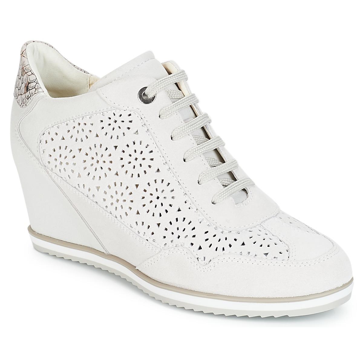 Geox D ILLUSION Weiss - Kostenloser Versand bei Spartoode ! - Schuhe Sneaker High Damen 101,50 €