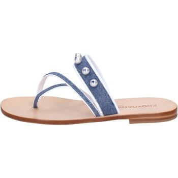 Schuhe Damen Sandalen / Sandaletten Eddy Daniele sandalen blau jeans weiß leder swarovski aw229 blau