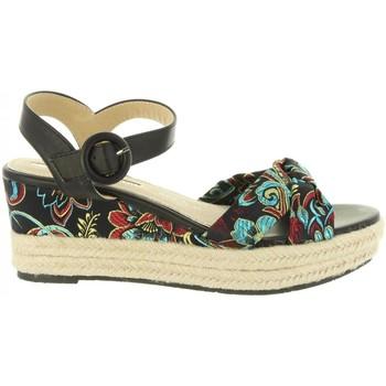 Schuhe Damen Leinen-Pantoletten mit gefloch Maria Mare 67004 Negro