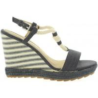 Schuhe Damen Leinen-Pantoletten mit gefloch Maria Mare 67109 Azul