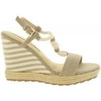Schuhe Damen Leinen-Pantoletten mit gefloch Maria Mare 67109 Beige