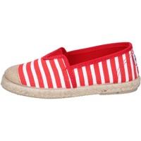 Schuhe Jungen Leinen-Pantoletten mit gefloch Cienta espadrilles rot textil weiß profumate BX287 rot