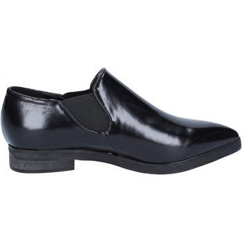 Schuhe Damen Slipper Francescomilano slip on mokassins schwarz leder BX327 schwarz