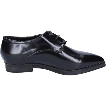 Schuhe Damen Richelieu Francescomilano elegante schwarz leder BX328 schwarz
