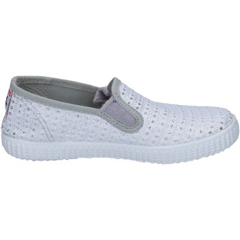 Schuhe Damen Slip on Cienta slip on weiß textil silber profumate BX350 weiß