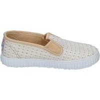 Schuhe Damen Slip on Cienta slip on weiß textil gold duftende BX351 weiß