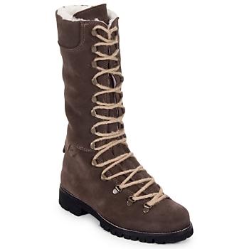 Schuhe Damen Boots Swamp STIVALE LACCI MONTONE Braun