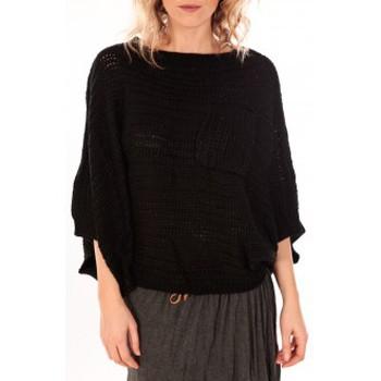 Kleidung Damen Pullover De Fil En Aiguille Pull Poncho Sophyline T-1614 Noir Schwarz