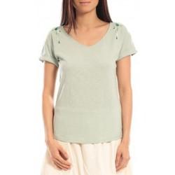 Kleidung Damen T-Shirts Blune T-shirt Larmes de Joie LJ-TF01E13 Vert Grün