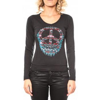 Kleidung Damen Langarmshirts Sweet Company Tee shirt Peace Noir Schwarz