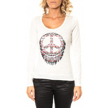 Kleidung Damen Langarmshirts Sweet Company Tee shirt Peace Blanc Weiss