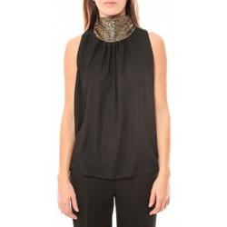 Kleidung Damen Tops Tcqb Top Paillettes Dorées 114-70 Noir Schwarz
