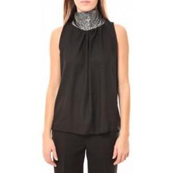 Kleidung Damen Tops Tcqb Top Paillettes Argentées 114-70 Noir Schwarz