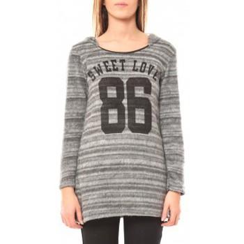 Kleidung Damen Pullover De Fil En Aiguille Pull Sweet Love 86 Grau