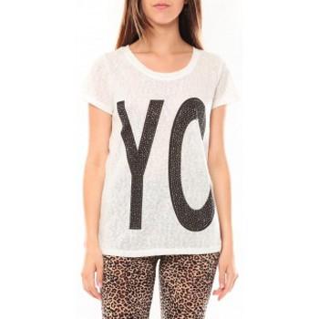 Kleidung Damen T-Shirts Tcqb Tee shirt SL1511 Blanc Weiss