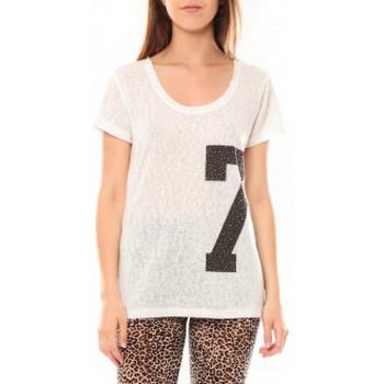 Kleidung Damen T-Shirts Tcqb Tee shirt SL1601 Blanc Weiss