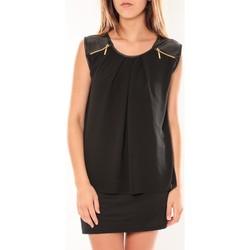 Kleidung Damen Kurze Kleider Dress Code Robe ANM Moda Noir Schwarz